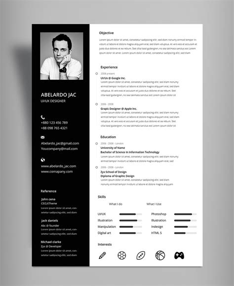 black white resume cv template with cover