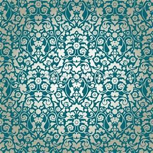 Seamless Damask Pattern Turquoise/Gold Wallpaper ...
