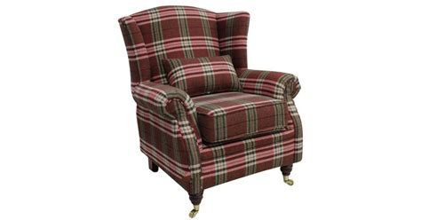 Wing Chair Fireside High Back Armchair Balmoral Red Check
