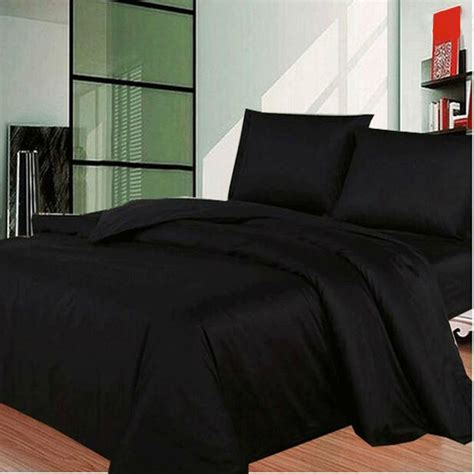 black bed sets black solid bedding sets cotton duvet quilt cover sets 10843   Black Solid Bedding Sets Cotton Duvet Quilt Cover Sets Sheet Pillowcases USA Twin Full Queen King