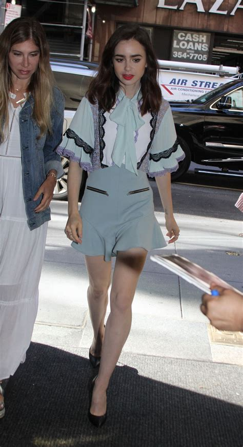 lily collins arrives  today show   york