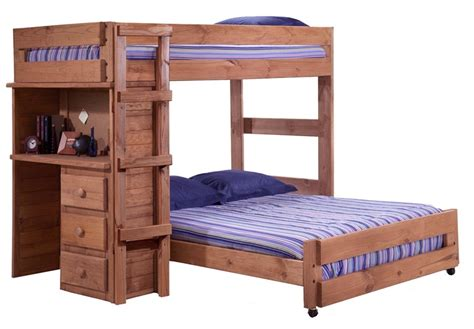 rustic style solid pine loft bed  desk  twin