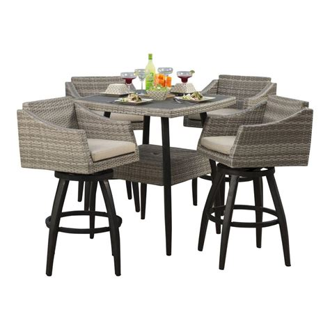 tall outdoor bistro table set rst brands cannes 5 piece all weather wicker patio bar