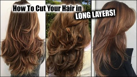 cut  hair  home  long layers long layered haircut diy  home updated youtube