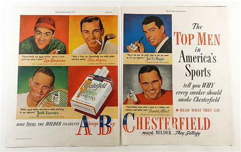 Vintage 1949 Chesterfield Cigarette Ad W/ Joe Dimaggio Ben