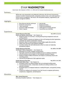 resume summary exles human resources resume recruiter sales