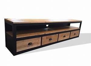 meuble tv industriel bois metal pas cher amandiks With meuble noir et bois