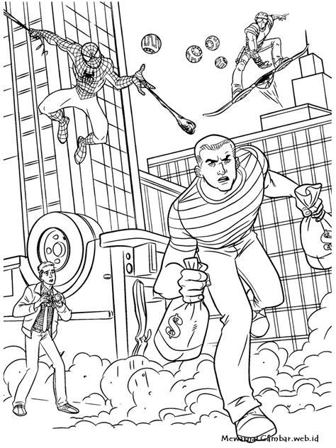 kumpulan contoh sketsa gambar mewarnai spiderman