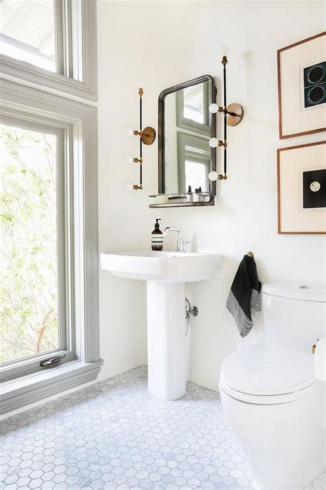 brass linear vanity sconce modern bathroom