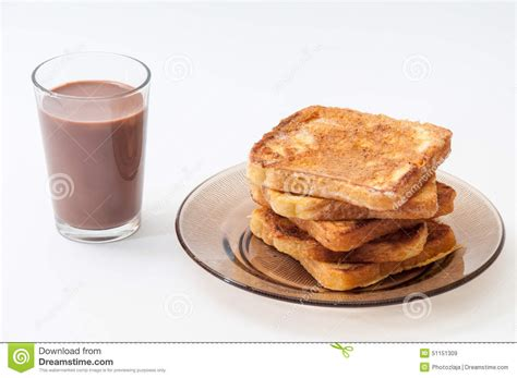 Milk In French Chocolate Milk And French Toast Arranged On A Plate Stock