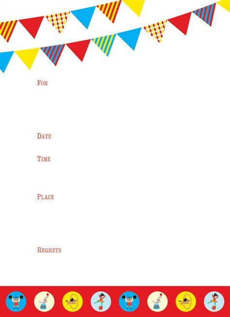 birthday blank template circus party invitations party invitations templates