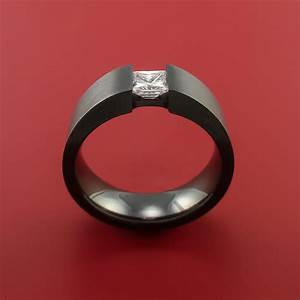 Black Zirconium Ring Tension Setting Band with Princess ...