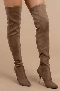 Designer Thigh High Made For Walking Taupe Faux Suede Thigh High Boots 49