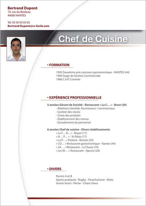 formation de cuisine collective exemple cv cuisinier restauration cv anonyme