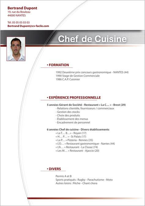 exemple cv cuisine exemple cv cuisinier création cv par cv facile