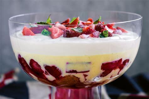 recipes for trifle strawberry rhubarb and custard trifle recipes delicious com au