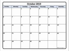 October 2019 calendar 51+ calendar templates of 2019