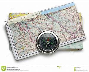 Road Map Plan And Compass Stock Photos