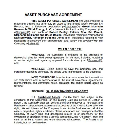asset purchase agreement template 9 sle asset purchase agreement templates sle templates