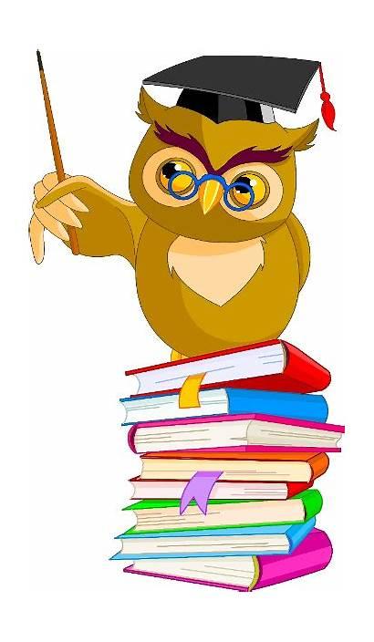 Cartoon Teacher Funny Library Characters Owl Clipart
