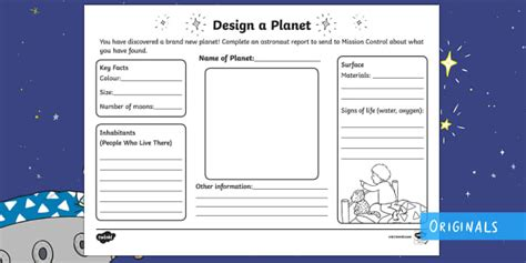 Design Your Own Planet Worksheet  Activity Sheet  Back To