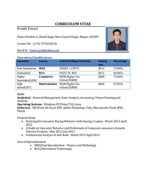 resume format  freshers
