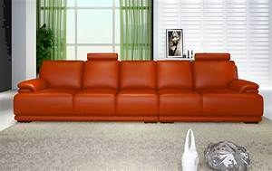 Canapé Convertible 5 Places : canape droit cuir salon london orange canape cuir orange 5 places 351cm ~ Teatrodelosmanantiales.com Idées de Décoration