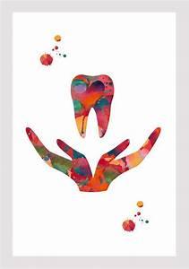 Dental Care Symbol Watercolor Print Dentist Clinic Wall