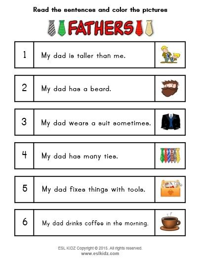 fathers day activities games  worksheets  kids