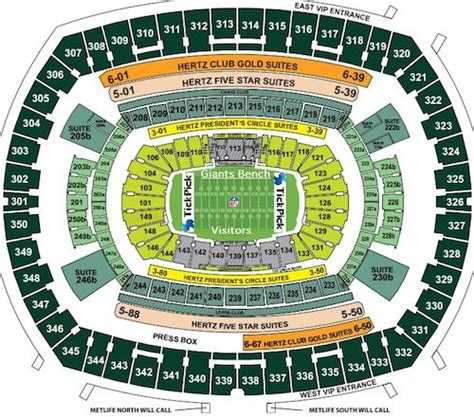 metlife stadium seating chart seat views rows seat numbers