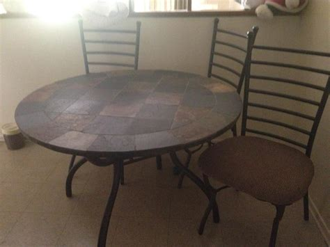 6ft slate tile kitchen table w 3 chairs