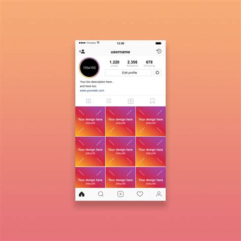 Instagram Mockup Instagram Profile Mockup Psd File Premium