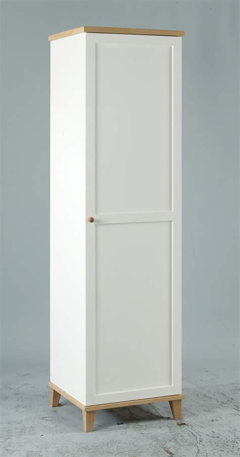 White Freestanding Wardrobe by White Ash Wood Single 1 Door Freestanding Wardrobe