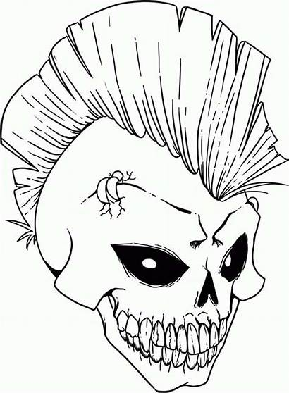 Coloring Skull Pages Rock Punk Scary Printable