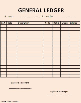 ledger template general ledger template professional word templates
