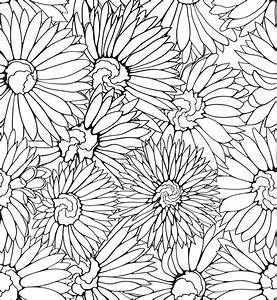 Black and white floral seamless pattern with hand drawn ...