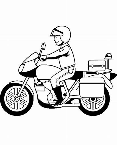 Motorcycle Coloring Motorbikes Motorbike Pages Policeman Easy