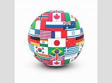 International communication concept World flags on globe