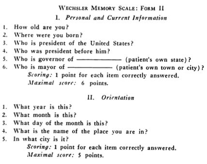 Wechsler Memory Scale Test