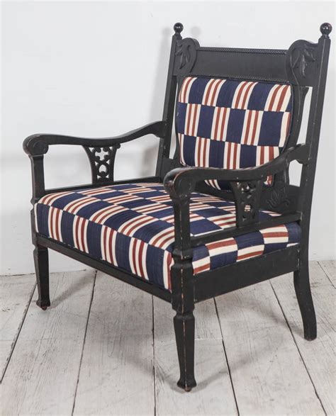 Small Settees by Edwardian Salon Small Settee Upholstered In Vintage