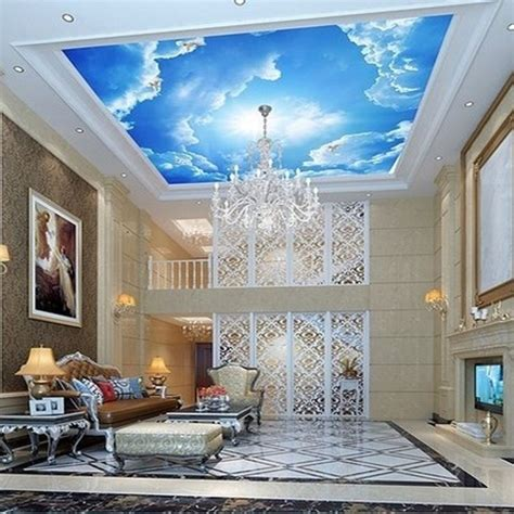 photo wallpaper large clouds  interior ceiling