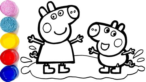Glitter Peppa Pig Muddy Puddles Drawing And Coloring For
