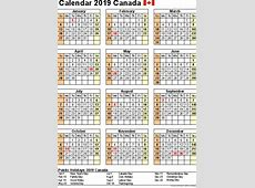 Free Printable Calendar 2019 with Canada Holidays