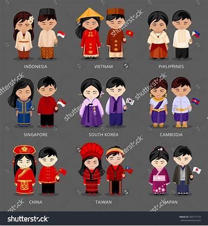 National Singapore Philippines Different Korea Asian Costumes