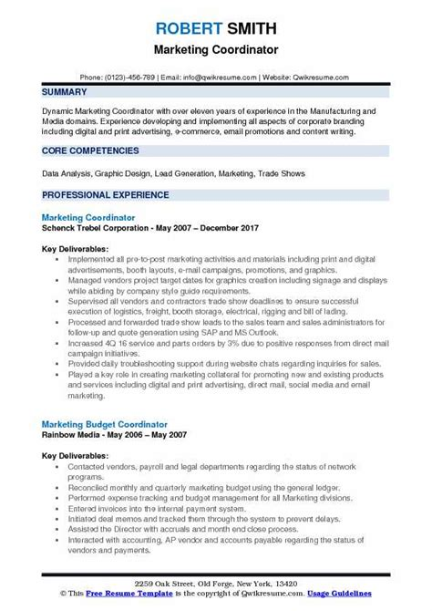 Marketing Coordinator Resume by Marketing Coordinator Resume Sles Qwikresume