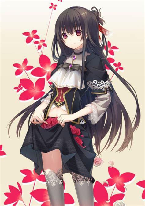 anime art anime girl  black dress  long