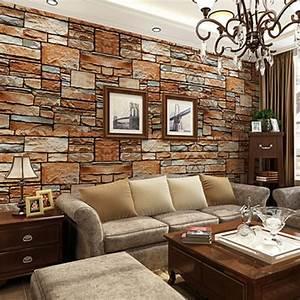 Mauer Wand Wohnzimmer : compre beibehang tridimensional simula o ~ Lizthompson.info Haus und Dekorationen