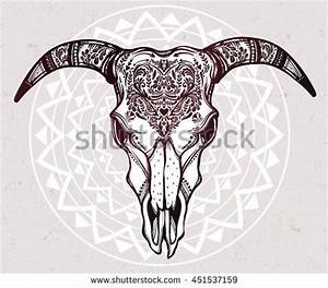 Hand Drawn Cow Bull Skull Vector Stock Vector 499281925 ...