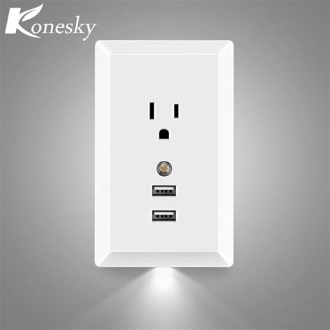 konesky ac socket wall outlet with led night light and 2