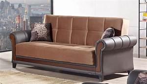 Hartford fabric sofa bed in brown okaycreationsnet for Long island sectional sofa grey fabric